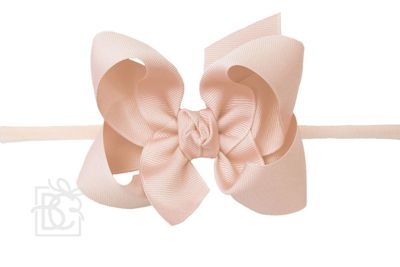 """Girls 1/4"""" Pantyhose Headband with Attached Bow - Grosgrain - Light Coral"""