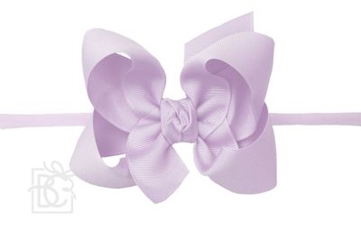 "Girls 1/4"" Pantyhose Headband with Attached Bow - Grosgrain - Light Orchid"