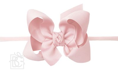 """Girls 1/4"""" Pantyhose Headband with Attached Bow - Grosgrain - Light Pink"""