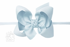 """Girls 1/4"""" Pantyhose Headband with Attached Bow - Grosgrain - Millenium Blue"""
