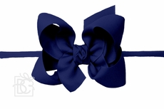 "Girls 1/4"" Pantyhose Headband with Attached Bow - Grosgrain - Navy Blue"
