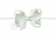 """Beyond Creations Girls 1/4"""" Pantyhose Headband with Attached Bow - Grosgrain - Powder Mint Green"""
