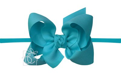 """Girls 1/4"""" Pantyhose Headband with Attached Bow - Grosgrain - Turquoise Blue"""