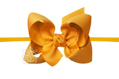 "Girls 1/4"" Pantyhose Headband with Attached Bow - Grosgrain - Yellow Gold Mustard"