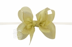"Girls 1/4"" Pantyhose Headband with Attached Bow - Metallic - Gold"