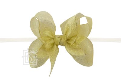 """Girls 1/4"""" Pantyhose Headband with Attached Bow - Metallic - Gold"""