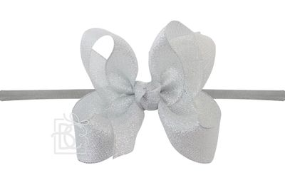 """Girls 1/4"""" Pantyhose Headband with Attached Bow - Metallic - Silver"""