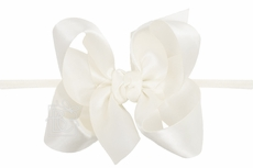 """Beyond Creations Girls 1/4"""" Pantyhose Headband with Attached Bow - Satin - Antique White"""