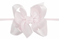 "Girls 1/4"" Pantyhose Headband with Attached Bow - Satin - Powder Pink"