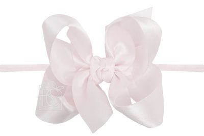 """Beyond Creations Girls 1/4"""" Pantyhose Headband with Attached Bow - Satin - Powder Pink"""