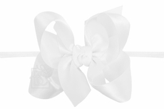 """Beyond Creations Girls 1/4"""" Pantyhose Headband with Attached Bow - Satin - White"""