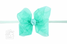 "Girls 1/4"" Pantyhose Headband with Attached Bow - Waterproof - Aquamarine"