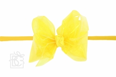 """Beyond Creations Girls 1/4"""" Pantyhose Headband with Attached Bow - Waterproof - Bright Yellow"""