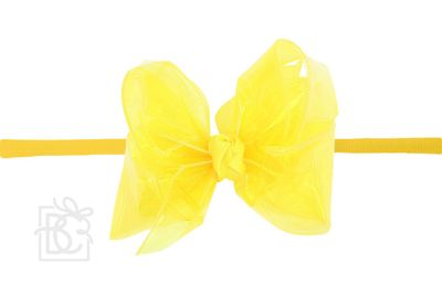 """Girls 1/4"""" Pantyhose Headband with Attached Bow - Waterproof - Bright Yellow"""