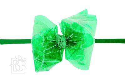 """Girls 1/4"""" Pantyhose Headband with Attached Bow - Waterproof - Emerald Green"""