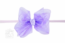 """Girls 1/4"""" Pantyhose Headband with Attached Bow - Waterproof - Light Orchid"""