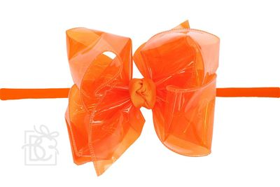 """Girls 1/4"""" Pantyhose Headband with Attached Bow - Waterproof - Orange"""
