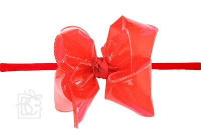 "Girls 1/4"" Pantyhose Headband with Attached Bow - Waterproof - Red"