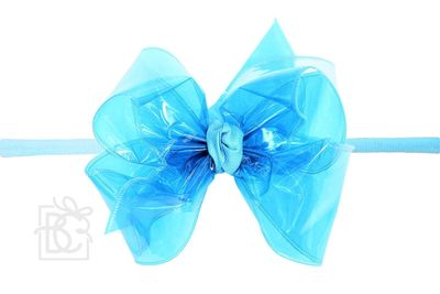"Girls 1/4"" Pantyhose Headband with Attached Bow - Waterproof - Turquoise"