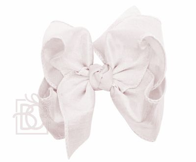 Girls Double Knot Bow on Clip - Silk Ribbon - Antique White