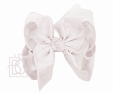 Beyond Creations Girls Double Knot Bow on Clip - Silk Ribbon - Antique White