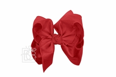Beyond Creations Girls Double Knot Bow on Clip - Silk Ribbon - Cranberry