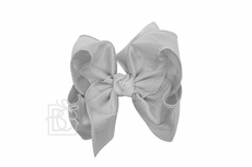 Girls Double Knot Bow on Clip - Silk Ribbon - Grey