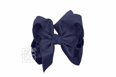 Girls Double Knot Bow on Clip - Silk Ribbon - Navy Blue