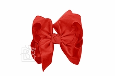 Beyond Creations Girls Double Knot Bow on Clip - Silk Ribbon - Red