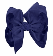 Girls Double Knot Bow on Clip - Silk Ribbon - Royal Blue