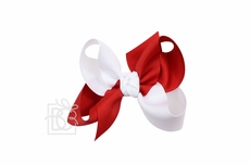 Beyond Creations Girls Grosgrain Double Knot Bow on Clip - Alabama - Criss-Cross - Red & White