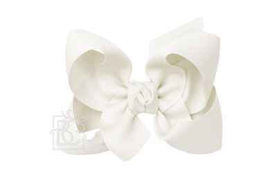 Girls Grosgrain Double Knot Bow on Clip - Antique White