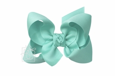 Beyond Creations Girls Grosgrain Double Knot Bow on Clip - Aquamarine