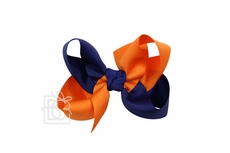 Girls Grosgrain Double Knot Bow on Clip - Auburn - Criss-Cross - Orange & Navy Blue