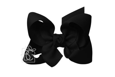 Girls Grosgrain Double Knot Bow on Clip - Black