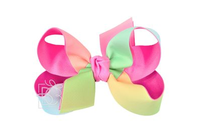 Beyond Creations Girls Grosgrain Double Knot Bow on Clip - Bright Rainbow with Hot Pink