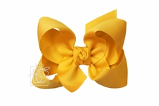 Girls Grosgrain Double Knot Bow on Clip - Bright Yellow