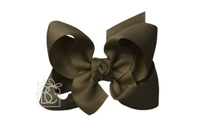 Girls Grosgrain Double Knot Bow on Clip - Brown