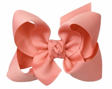 Girls Grosgrain Double Knot Bow on Clip - Coral Shell Pink