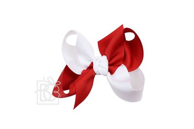 Girls Grosgrain Double Knot Bow on Clip - Alabama - Criss-Cross - Red & White
