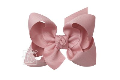 Beyond Creations Girls Grosgrain Double Knot Bow on Clip - Dusty Pink Mauve
