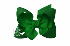 Girls Grosgrain Double Knot Bow on Clip - Emerald Green