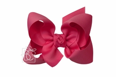 Girls Grosgrain Double Knot Bow on Clip - Fuchsia