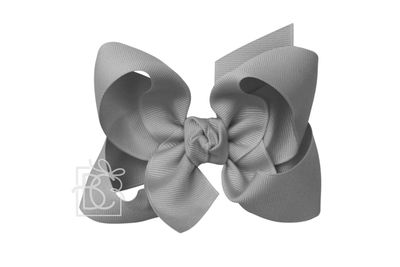 Girls Grosgrain Double Knot Bow on Clip - Grey