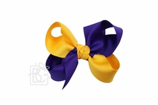 Girls Grosgrain Double Knot Bow on Clip - LSU - Criss-Cross - Purple & Yellow