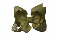 Beyond Creations Girls Grosgrain Double Knot Bow on Clip - Moss Green