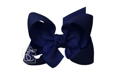 Beyond Creations Girls Grosgrain Double Knot Bow on Clip - Navy Blue