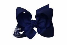 Girls Grosgrain Double Knot Bow on Clip - Navy Blue