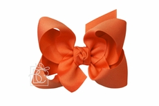 Girls Grosgrain Double Knot Bow on Clip - Orange