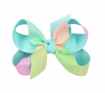 Beyond Creations Girls Grosgrain Double Knot Bow on Clip - Pastel Rainbow with Aqua